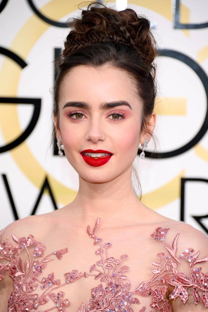 Lily Collins Eyebrows Plucked